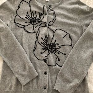 Gray Floral Embellished Sweater